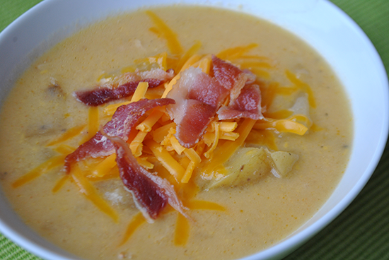 Slow Cooker Potato Soup + Cheddar and Bacon