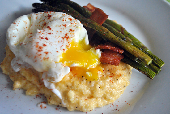 Easter Brunch: Roasted Asparagus + Cheddar Grits